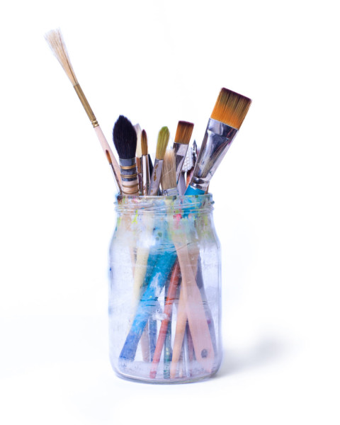 Paint Brushes in Glass Jar